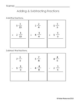 No Prep - Math Review - Working with Fractions