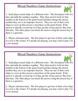 No Prep Mixed Numbers Game - Fourth Grade Common Core Math 4.NF.B.3.C