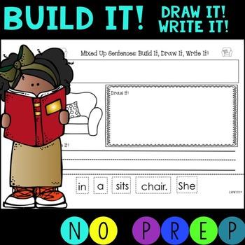 No Prep!  Mixed Up Sentences Digraphs  - Build it!  Draw i