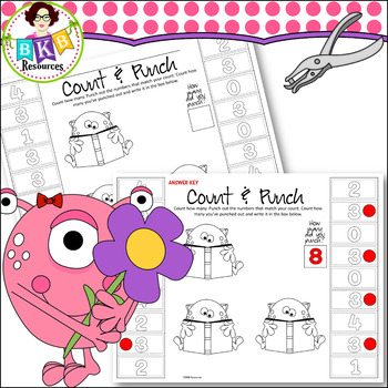 No Prep ● Monster Count & Punch Sheets ● Counting ● Printables
