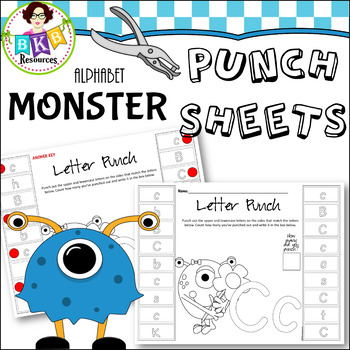 Letter Hole Puncher.Hole Punch Activities Monster Punch Sheets Letters No Prep