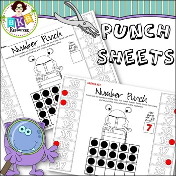 No Prep ● Monster Punch Sheets ● Numbers 0-20 ● Math Centers