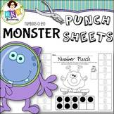 Hole Punch Activities ● Monster Number Punch Sheets ● Ten Frame ● Numbers 0-20