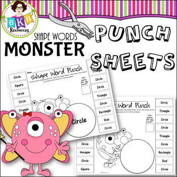 No Prep ● Monster Punch Sheets ● Shape Words ● Math Centers