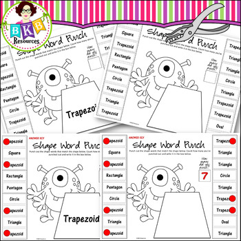 Hole Punch Activities ● Monster Punch Sheets ● Shape Words ● Math Centers