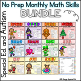 No Prep Monthly Math Bundle -Special Ed and Autism-