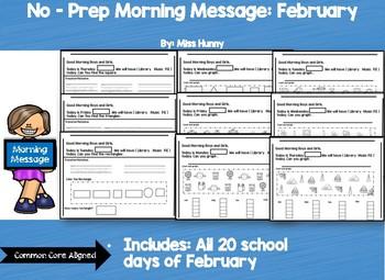 No Prep Morning Message: February