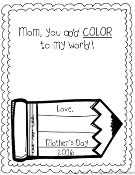 No-Prep Mother's Day Coloring Printable