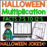 Multiplication Fact Practice 7's -12's with Halloween Jokes