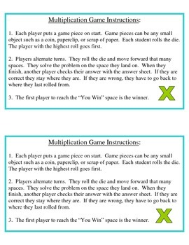 No Prep Multiplication Game 2-Digit Numbers 4.NBT.B.5