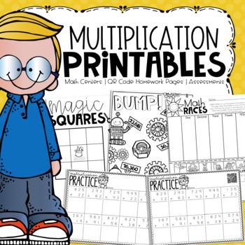 No Prep Multiplication Printables {Centers, Small Groups, Homework, Assessments}