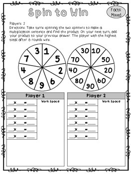 No Prep Multiplication Spinner Games