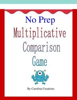No Prep Multiplicative Comparison Game - Fourth Grade Math 4.OA.4