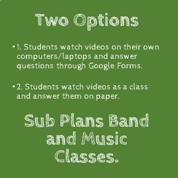 No Prep - Music/Band Sub Plan I - High School or Middle School - Self Grading