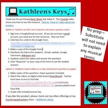 No Prep -Music or Band Sub Plan II - High School or Middle School - Self Grading