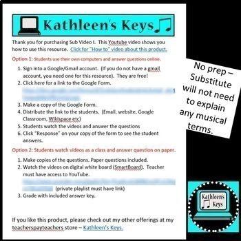 No Prep - Music/Choir Sub Plan  II - High School or Middle School - Self Grading