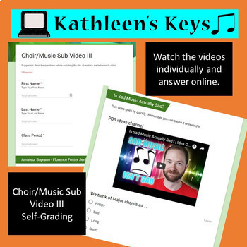 No Prep - Music/Choir Sub Plan III - High School or Middle