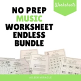 No Prep Music Worksheet Endless Bundle