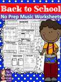No Prep Music Worksheets - Back to School