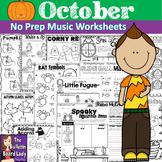 No Prep Music Worksheets - OCTOBER