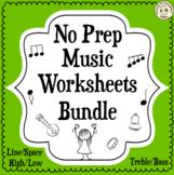 Music Staff Worksheets Bundle | No Prep Printables