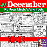 No Prep Music Worksheets - DECEMBER