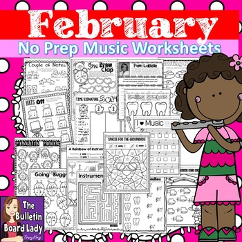 No Prep Music Worksheets - February