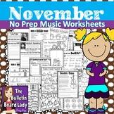 No Prep Music Worksheets November