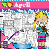 Distance Learning No Prep Music Worksheets for APRIL
