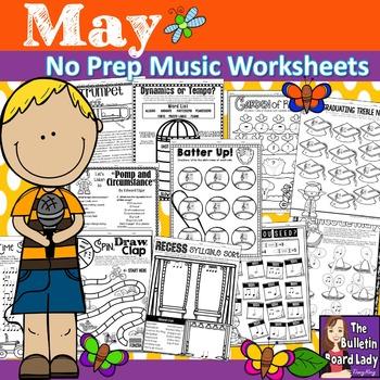 No Prep Music Worksheets for MAY
