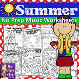 No Prep Music Worksheets for Summer - Distance Learning