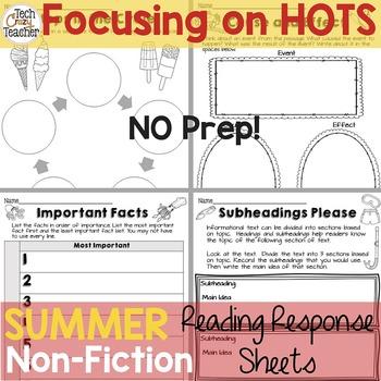 Reading Response Sheets for NONFICTION (HOTS): Summer Edition No Prep