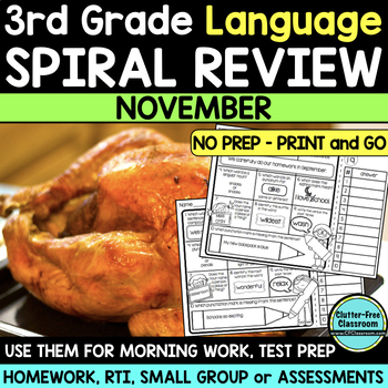 3RD GRADE Homework Morning Work for LANGUAGE & GRAMMAR - NOVEMBER NO PREP