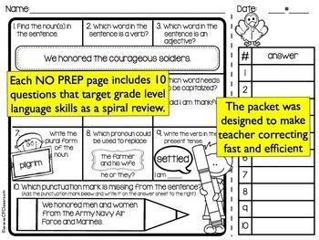3RD GRADE Homework Morning Work for LANGUAGE & GRAMMAR - NOVEMBER NO PREP