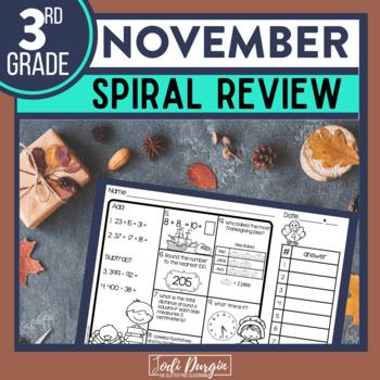 November Morning Work 3rd Grade Math Review | Spiral Review | Homework | No Prep