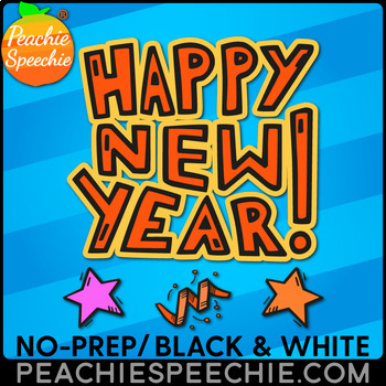 No Prep New Year {Speech Therapy}