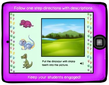 No Print No Prep Dinosaur Concepts Following Directions BOOM Cards Activity
