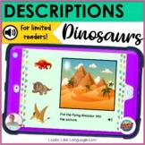 BOOM Cards   Digital Speech Therapy   Descriptions   Dinosaurs