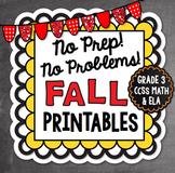 Fall NO PREP Math and Literacy Printables {Third Grade}