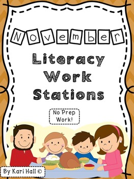 No Prep November Literacy Work Stations and Word Wall Words