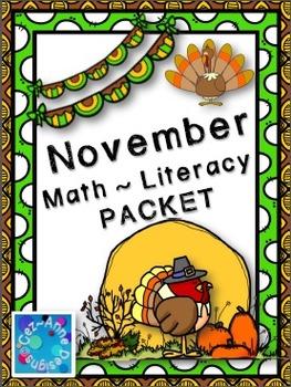 No Prep!!!  November Math and Literacy Packet