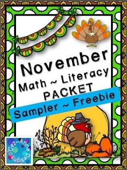 No Prep!!!  November Math and Literacy Packet ~ Freebie