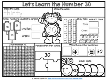 No Prep Numbers Worksheet Set 1-50 BUNDLE PACK