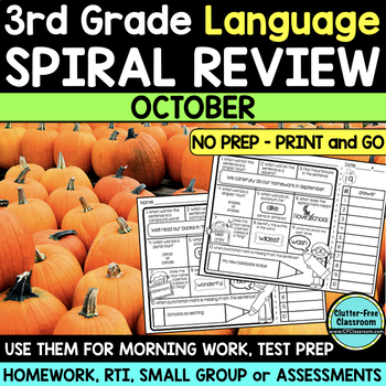 3RD GRADE Homework Morning Work for LANGUAGE & GRAMMAR - OCTOBER NO PREP