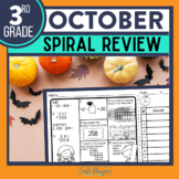 October Morning Work or Third Grade Math Homework Spiral Review