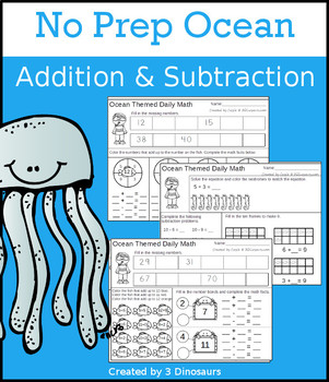 No Prep Ocean Addition & Subtraction