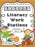 No Prep October Literacy Work Stations and Word Wall Words