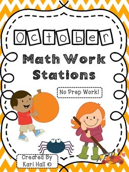 No Prep October Math Work Stations!
