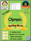 No Prep Olympic Themed Spelling Words Homework for the Week, Test, Certificates