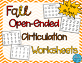 No Prep, Open Ended Articulation Worksheets for Fall